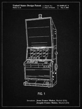 PP1043-Vintage Black Slot Machine Patent Poster by Cole Borders