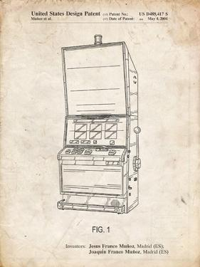 PP1043-Vintage Parchment Slot Machine Patent Poster by Cole Borders