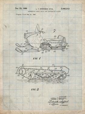 PP1046-Antique Grid Parchment Snow Mobile Patent Poster by Cole Borders