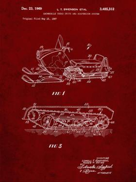 PP1046-Burgundy Snow Mobile Patent Poster by Cole Borders