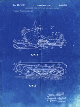 PP1046-Faded Blueprint Snow Mobile Patent Poster by Cole Borders