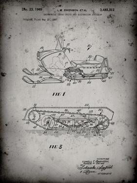 PP1046-Faded Grey Snow Mobile Patent Poster by Cole Borders