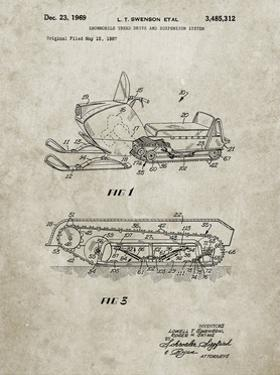 PP1046-Sandstone Snow Mobile Patent Poster by Cole Borders