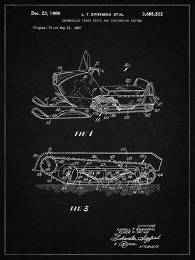PP1046-Vintage Black Snow Mobile Patent Poster by Cole Borders