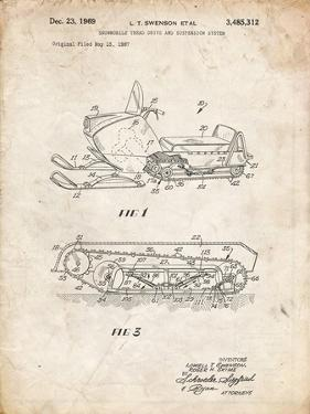 PP1046-Vintage Parchment Snow Mobile Patent Poster by Cole Borders