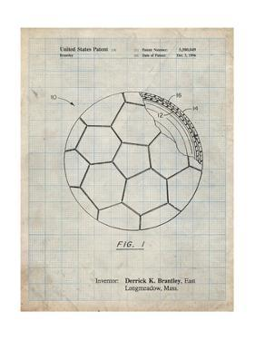 PP1047-Antique Grid Parchment Soccer Ball Layers Patent Poster by Cole Borders