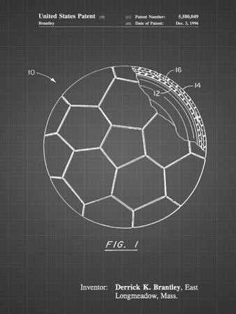 PP1047-Black Grid Soccer Ball Layers Patent Poster by Cole Borders