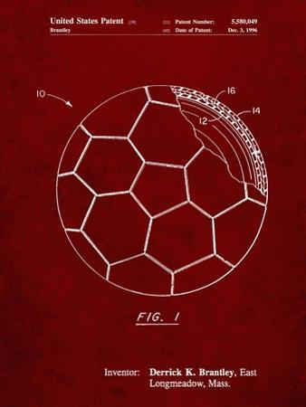 PP1047-Burgundy Soccer Ball Layers Patent Poster by Cole Borders