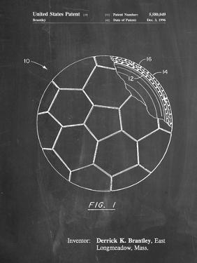 PP1047-Chalkboard Soccer Ball Layers Patent Poster by Cole Borders