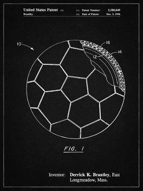 PP1047-Vintage Black Soccer Ball Layers Patent Poster by Cole Borders