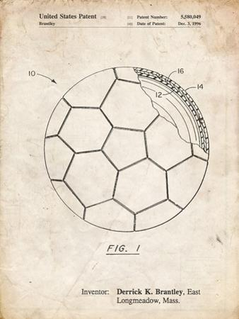 PP1047-Vintage Parchment Soccer Ball Layers Patent Poster by Cole Borders