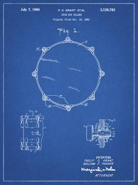 PP105-Blueprint Drum Key Holder Patent Poster by Cole Borders