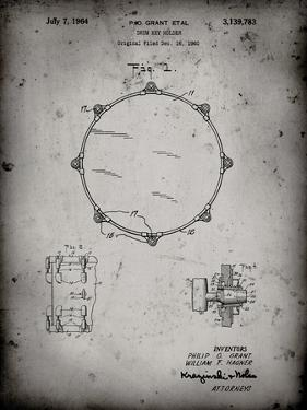 PP105-Faded Grey Drum Key Holder Patent Poster by Cole Borders