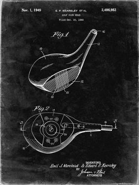 PP1050-Black Grunge Spalding Golf Driver Patent Poster by Cole Borders