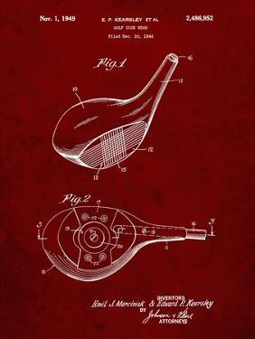 PP1050-Burgundy Spalding Golf Driver Patent Poster by Cole Borders