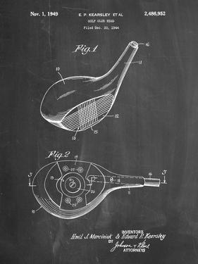 PP1050-Chalkboard Spalding Golf Driver Patent Poster by Cole Borders