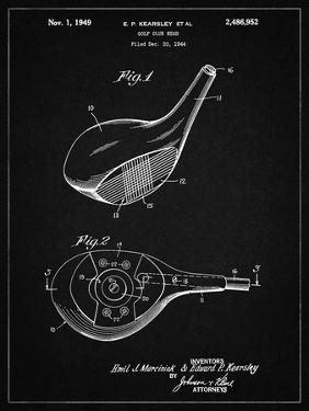 PP1050-Vintage Black Spalding Golf Driver Patent Poster by Cole Borders