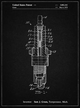 PP1051-Vintage Black Spark Plug Patent Poster by Cole Borders