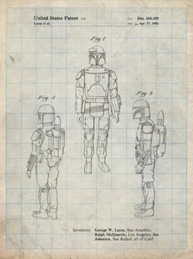 PP1055-Antique Grid Parchment Star Wars Boba Fett Patent Poster by Cole Borders