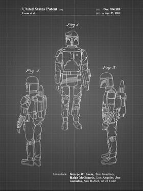PP1055-Black Grid Star Wars Boba Fett Patent Poster by Cole Borders