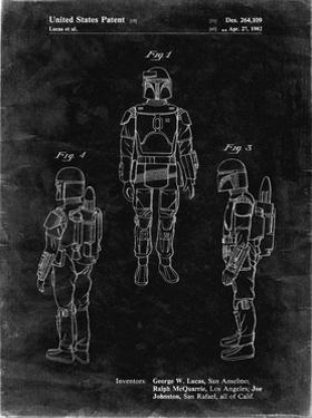 PP1055-Black Grunge Star Wars Boba Fett Patent Poster by Cole Borders