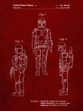 PP1055-Burgundy Star Wars Boba Fett Patent Poster by Cole Borders
