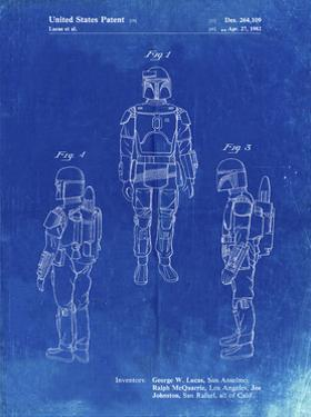 PP1055-Faded Blueprint Star Wars Boba Fett Patent Poster by Cole Borders