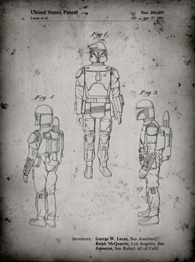 PP1055-Faded Grey Star Wars Boba Fett Patent Poster by Cole Borders