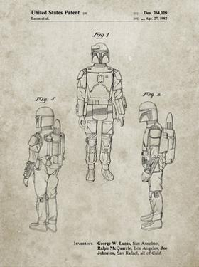PP1055-Sandstone Star Wars Boba Fett Patent Poster by Cole Borders