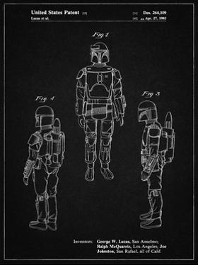 PP1055-Vintage Black Star Wars Boba Fett Patent Poster by Cole Borders
