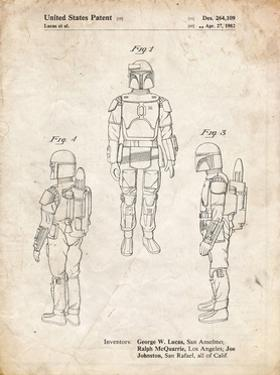 PP1055-Vintage Parchment Star Wars Boba Fett Patent Poster by Cole Borders