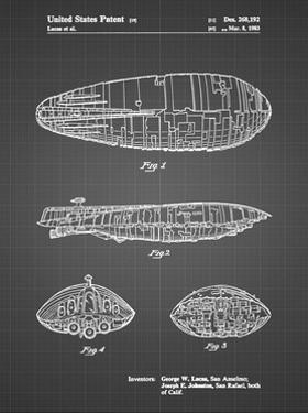 PP1056-Black Grid Star Wars Rebel Transport Patent Poster by Cole Borders