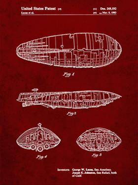 PP1056-Burgundy Star Wars Rebel Transport Patent Poster by Cole Borders