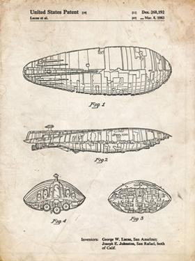 PP1056-Vintage Parchment Star Wars Rebel Transport Patent Poster by Cole Borders
