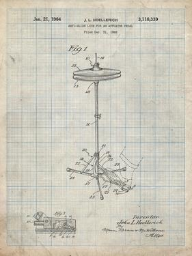 PP106-Antique Grid Parchment Hi Hat Cymbal Stand and Pedal Patent Poster by Cole Borders