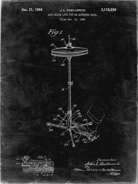 PP106-Black Grunge Hi Hat Cymbal Stand and Pedal Patent Poster by Cole Borders