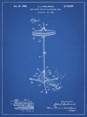 PP106-Blueprint Hi Hat Cymbal Stand and Pedal Patent Poster by Cole Borders