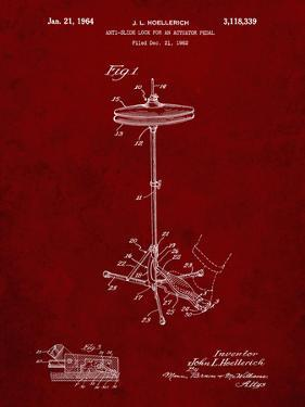 PP106-Burgundy Hi Hat Cymbal Stand and Pedal Patent Poster by Cole Borders