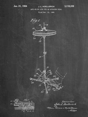 PP106-Chalkboard Hi Hat Cymbal Stand and Pedal Patent Poster by Cole Borders