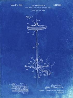PP106-Faded Blueprint Hi Hat Cymbal Stand and Pedal Patent Poster by Cole Borders