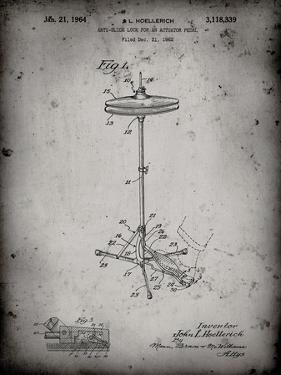 PP106-Faded Grey Hi Hat Cymbal Stand and Pedal Patent Poster by Cole Borders