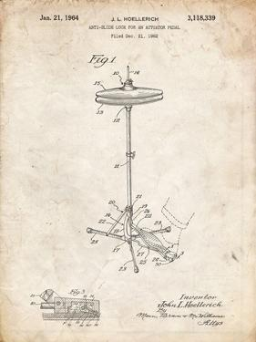 PP106-Vintage Parchment Hi Hat Cymbal Stand and Pedal Patent Poster by Cole Borders