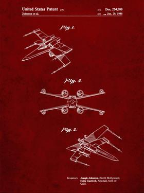PP1060-Burgundy Star Wars X Wing Starfighter Star Wars Poster by Cole Borders