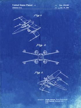 PP1060-Faded Blueprint Star Wars X Wing Starfighter Star Wars Poster by Cole Borders