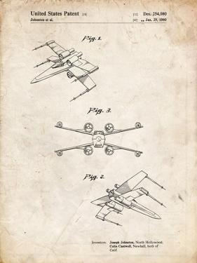 PP1060-Vintage Parchment Star Wars X Wing Starfighter Star Wars Poster by Cole Borders