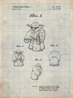 PP1061-Antique Grid Parchment Star Wars Yoda Full Image Patent Poster by Cole Borders