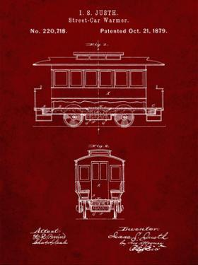 PP1069-Burgundy Streetcar Patent Poster by Cole Borders