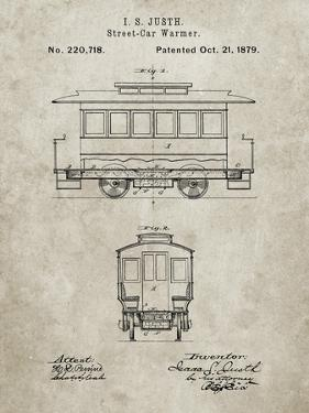 PP1069-Sandstone Streetcar Patent Poster by Cole Borders
