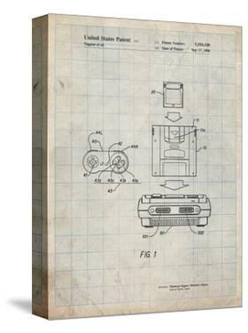PP1072-Antique Grid Parchment Super Nintendo Console Remote and Cartridge Patent Poster by Cole Borders