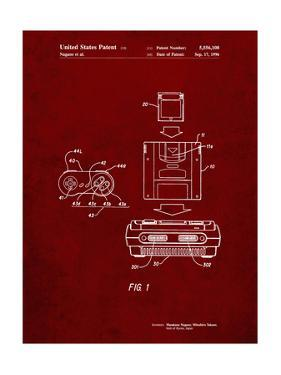 PP1072-Burgundy Super Nintendo Console Remote and Cartridge Patent Poster by Cole Borders